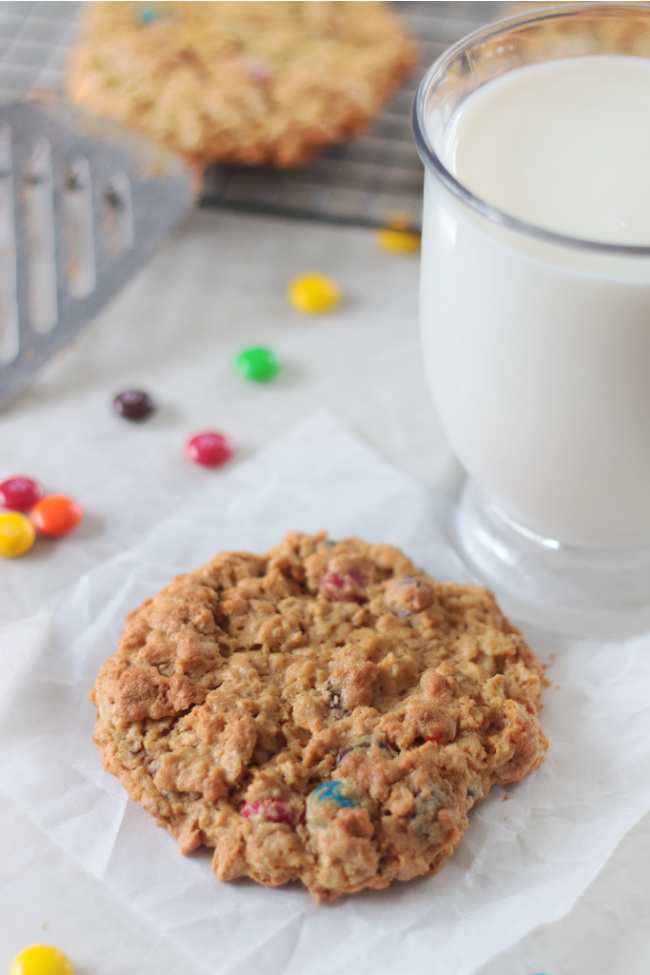 jumbo monster cookie on parchment paper