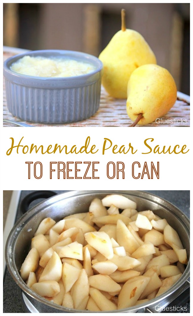 Pear sauce is so easy to make and delicious on waffles or on its own. Because pears are soft they break down and mash very easily and turn into the most delicious pear sauce. Freeze containers for up to a year or store in the refrigerator for a week. Don't forget to reserve some of the juice! That is my kids' favorite part.
