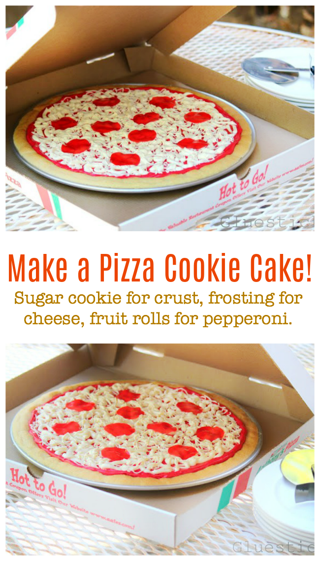Make a pizza cake or cookie for a birthday! Sugar cookie (or yellow cake) base with cheese and pepperoni made from frosting and fruit rolls!