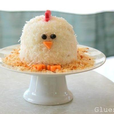 chicken cake on white cake platter