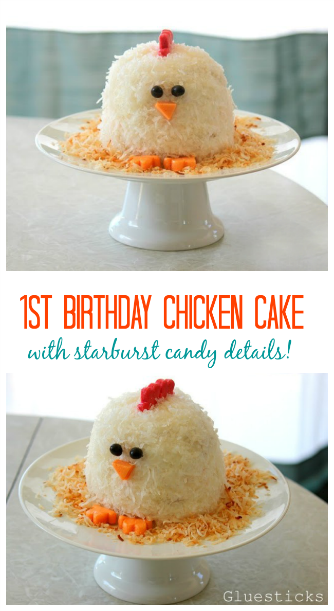 A chicken cake that is as delicious as it is cute! The perfect little cake for a first birthday. Would you believe that the details are made out of Starburst candies? Yep! No fondant! Super easy to decorate, I'll show you how!
