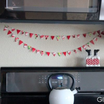 duct tape bunting on kitchen wall