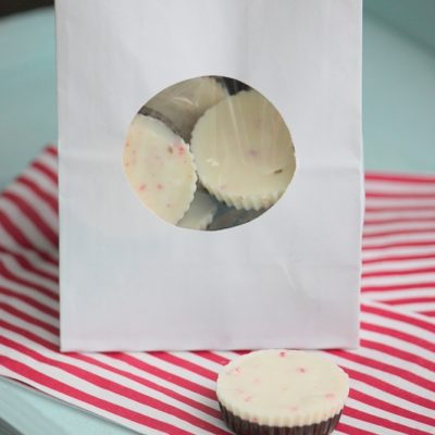 bag of peppermint cups on napkin