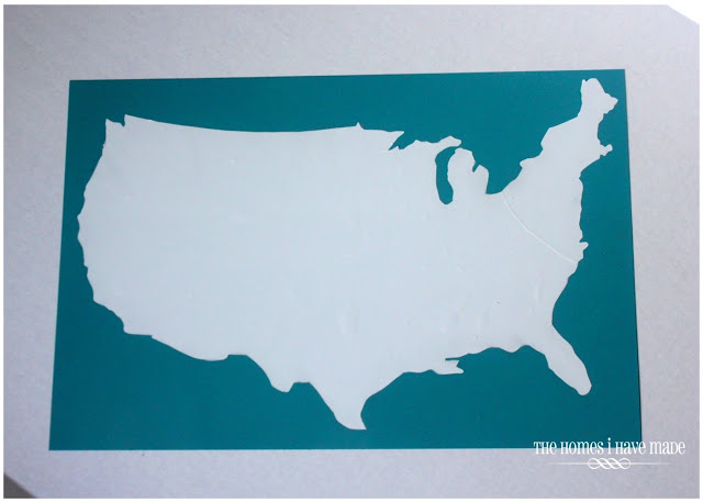 USA outline on teal memo board