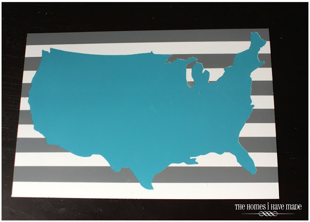 turquoise USA silhouette on memo board