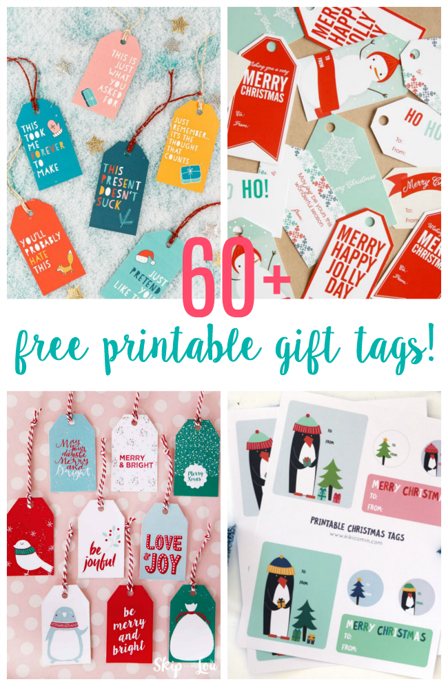 Over 60 free printable Christmas gift tags to make holiday gift giving easier this year! Cute, colorful, and creative. Just print and cut.