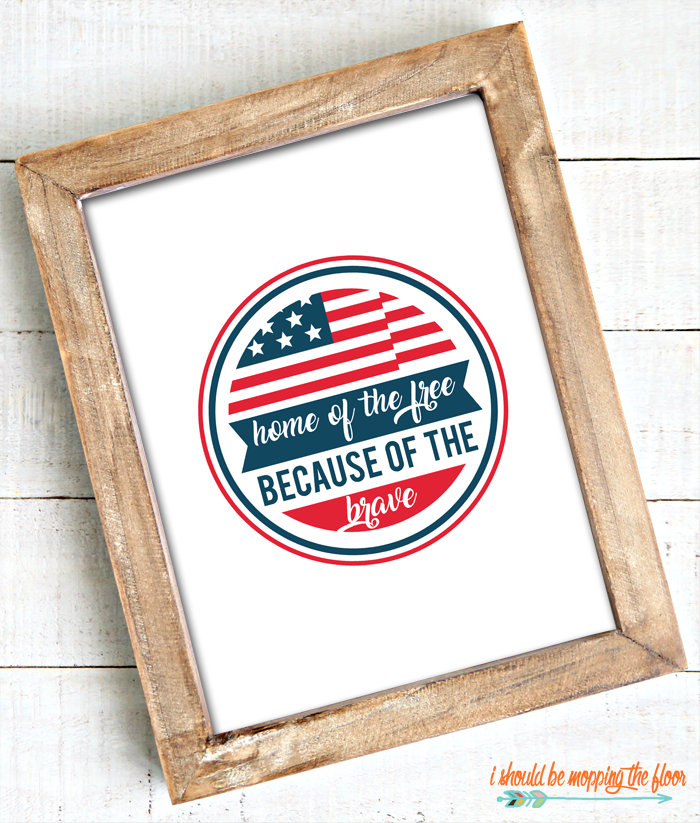 4th of July wall art in wood frame