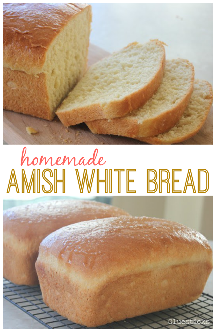 This recipe for homemade Amish white bread yields 2 loaves of perfectly soft white bread. Perfect for sandwiches, toast, or eating fresh from the oven with butter. It has been a family favorite for years!