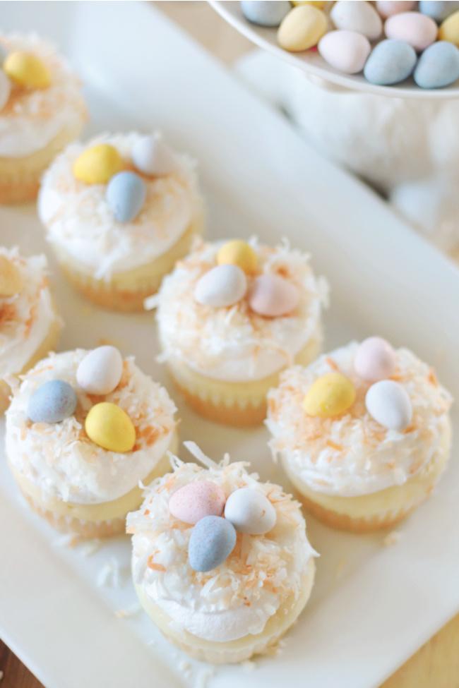 platter of coconut poke cupcakes