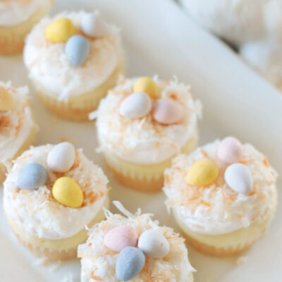 platter of coconut cupcakes