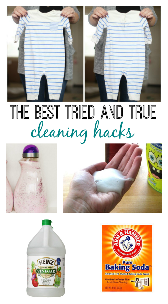 A collection of some of the BEST cleaning hacks! Homemade stain remover, homemade laundry detergent, uses for baking soda, how to clean with vinegar and more!