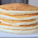 stack of almond poppy seed pancakes