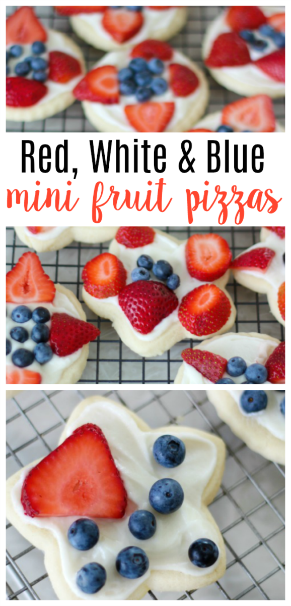 These red, white, and blue mini fruit pizzas are an easy patriotic dessert using summer fruits. Assemble them ahead of time or let guests make their own!