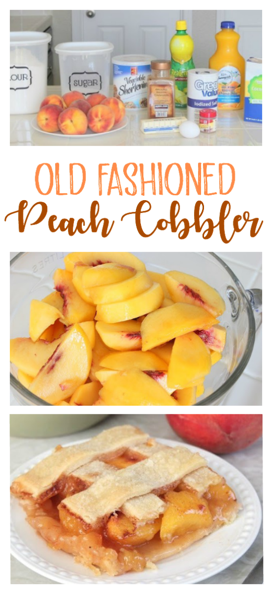 """Old fashioned peach cobbleris a mix between a cobbler and a deep dish pie. Baked in a 9 x 13"""" baking dish, it's big enough for the whole family!"""