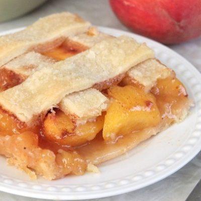 slice of peach cobbler