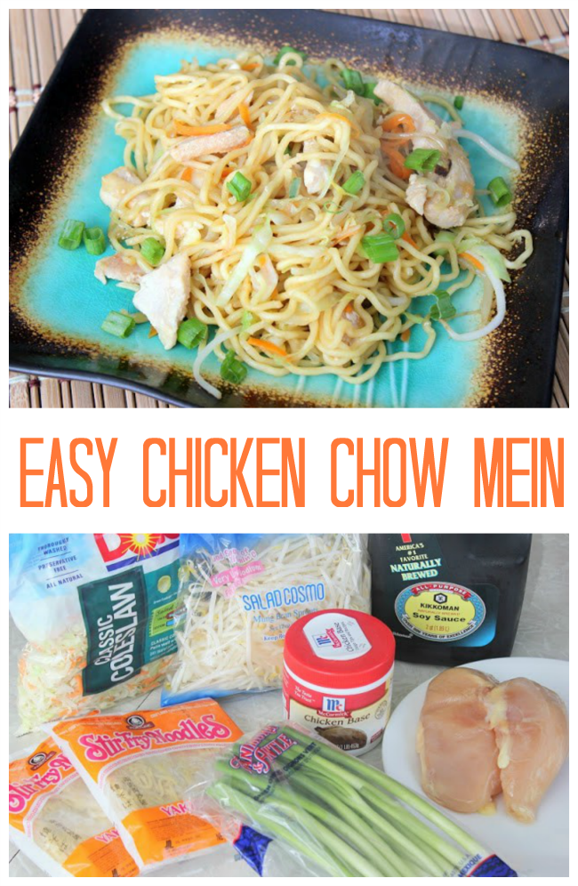 A quick and easy chicken chow mein recipe that the entire family will love. Simple ingredients packed with flavor. This chicken chow mien reheats well and makes great leftovers!