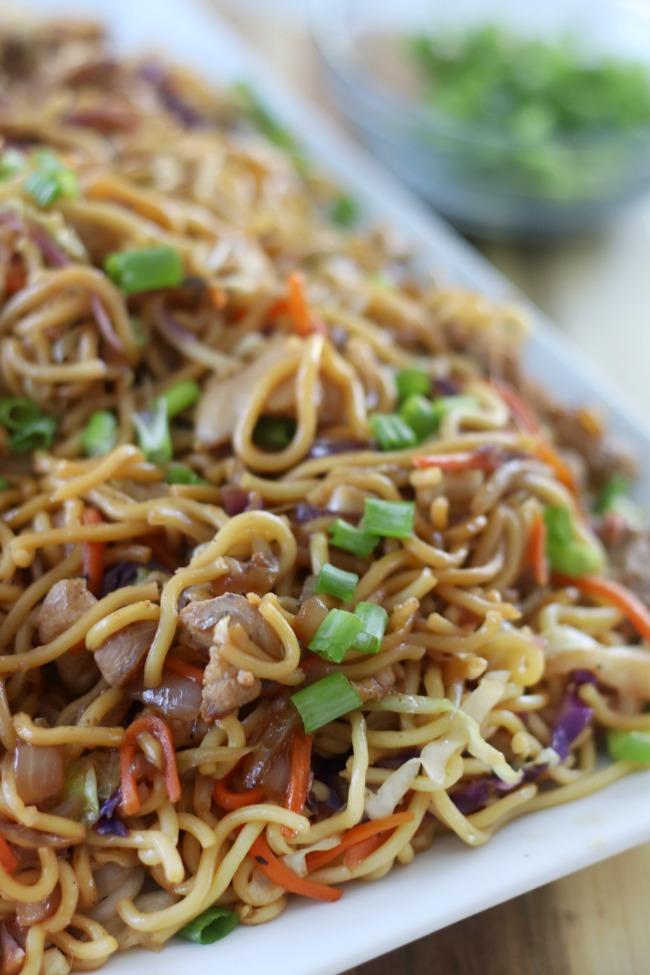homemade chow mein on platter