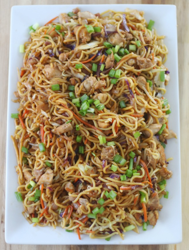 platter of homemade chicken chow mein