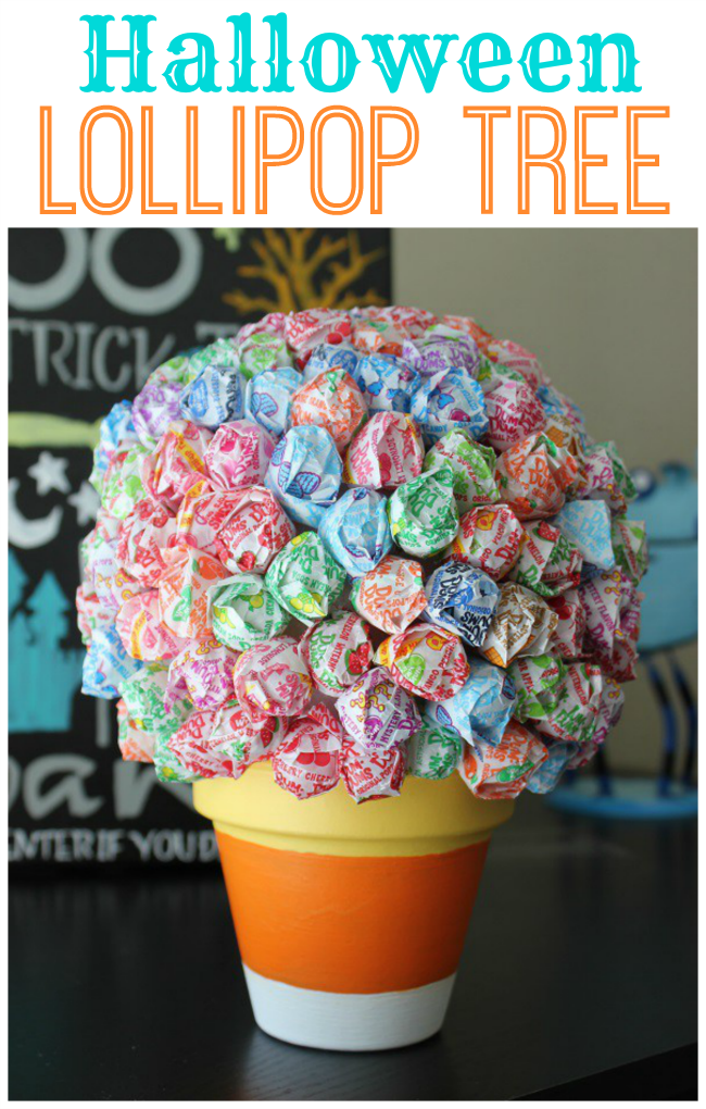 lollipop topiary for centerpiece for halloween party
