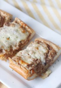 french bread stroganoff loaf on plate