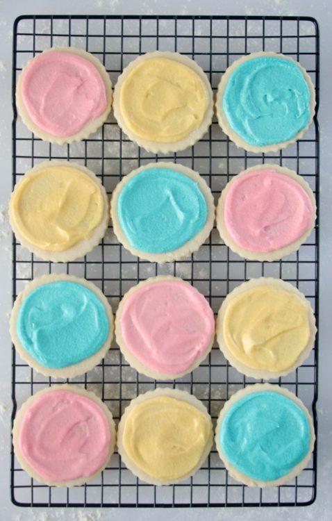 bakery sugar cookies on cooling rack