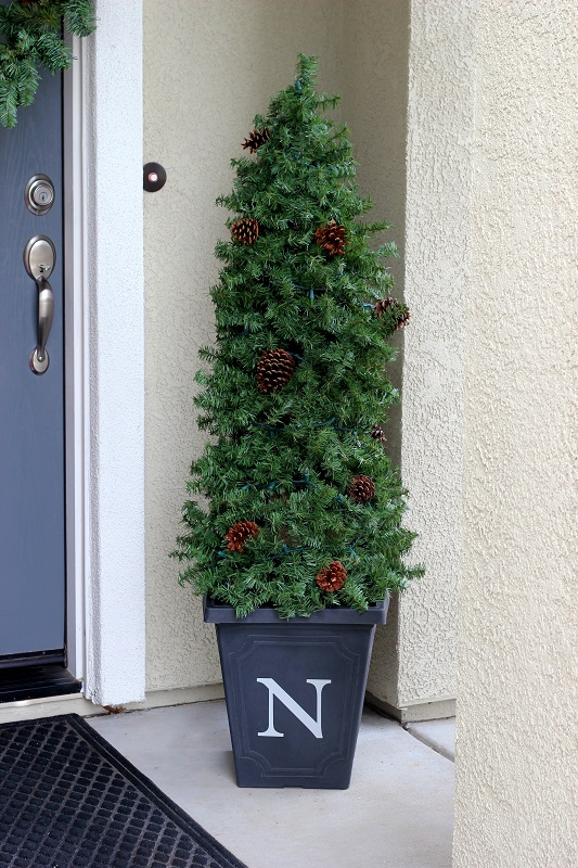 evergreen topiary on porch