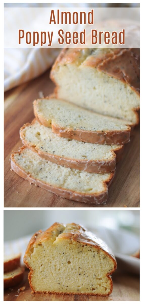 slices of almond poppy seed bread on cutting board