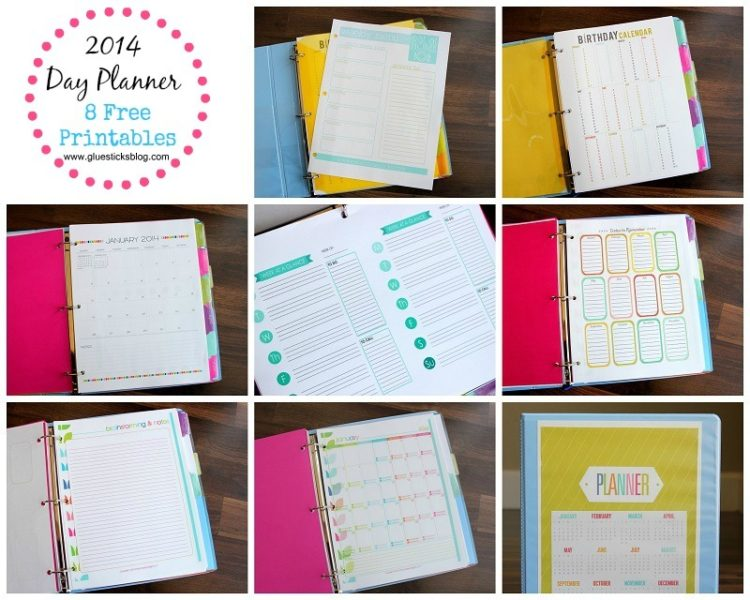 2014 day planner free printables gluesticks for Create your own planner free