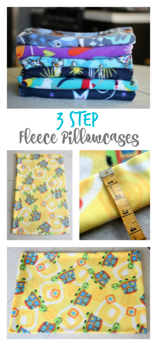 collage of fleece pillowcase photos
