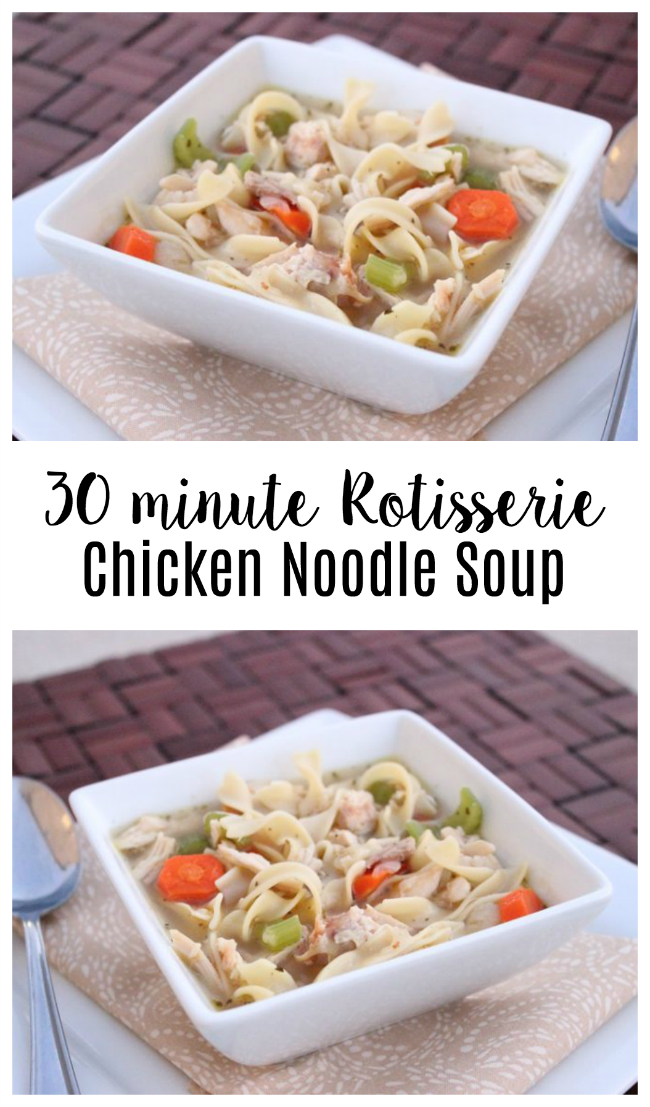 A simple 30 minute chicken noodle soup recipe to make on chilly days or to comfort a little one who isn't feeling well. Nothing says comfort food like a warm bowl of chicken noodle soup.