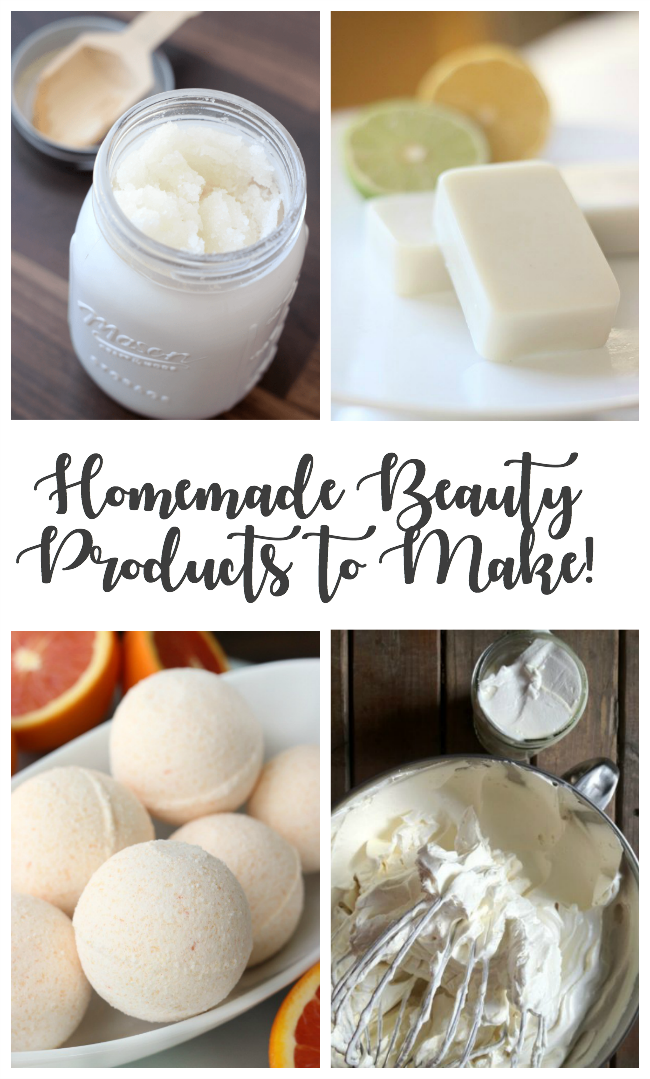 collection of homemade beauty products