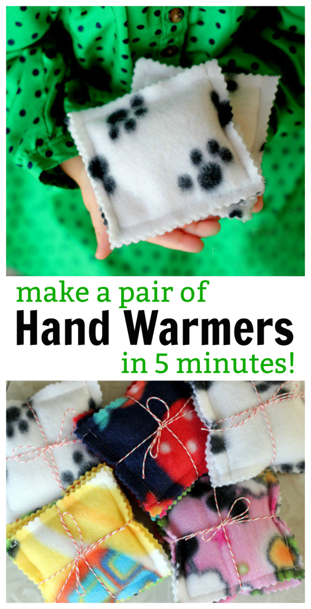 Here is a quick, easy, and cozy gift idea! 5 minute fleece hand warmers to put inside a jacket pocket. Fill with rice and warm in a microwave to heat up! You can even add a few drops of essential oil to make them smell nice. Package up in a set of two for a sweet gift.