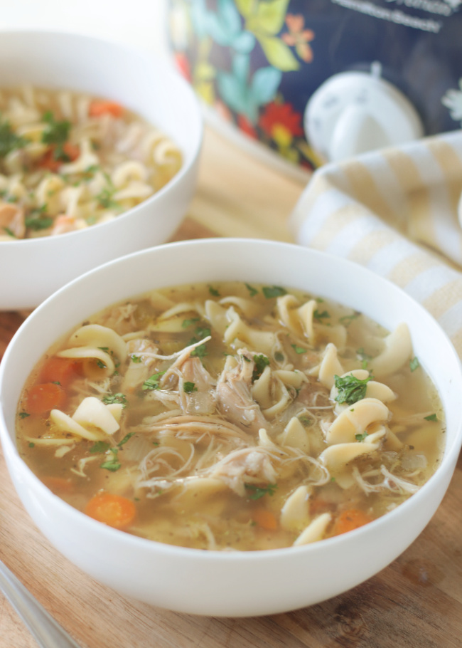 2 bowls of chicken noodle soup