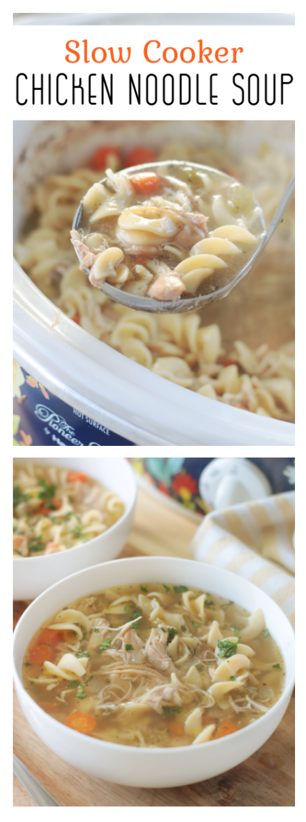 chicken noodle soup in slow cooker and soup bowl