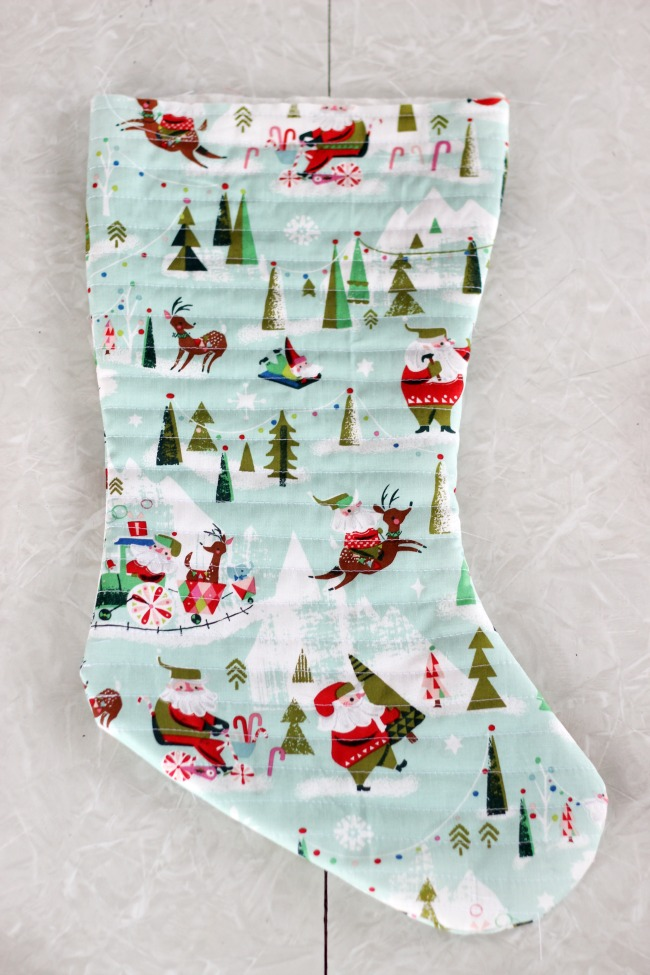 quilted christmas stocking without cuff sewn on
