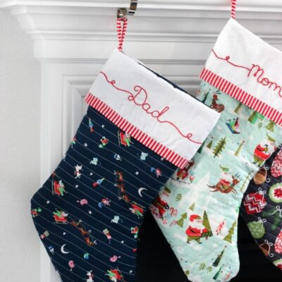Christmas stocking on mantle