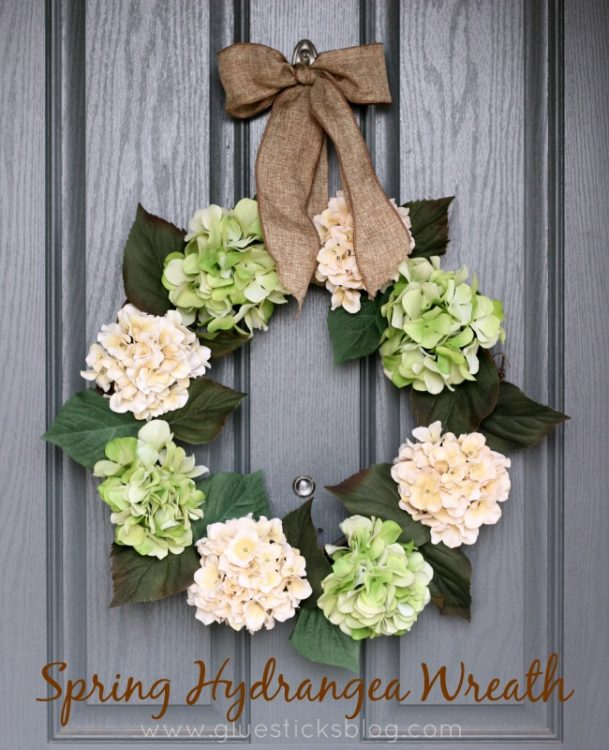 hydrangea wreath hanging on door