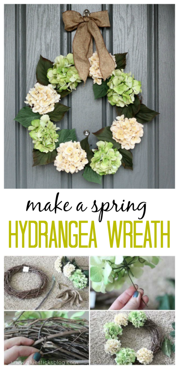 How to make a hydrangea wreath for a fraction of the price of a custom store bought one. In less than an hour!