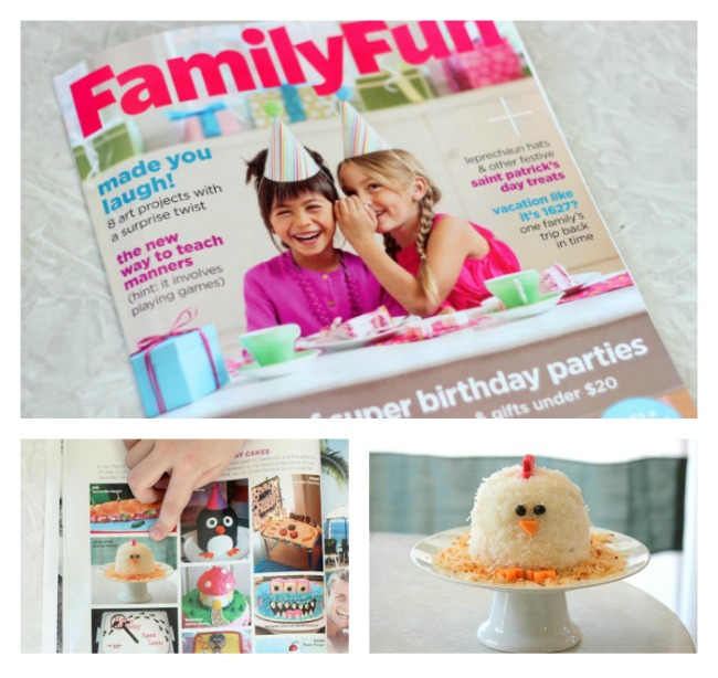issue of family fun magazine with feature of chicken cake