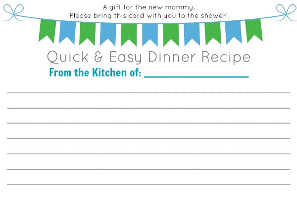 baby shower dinner recipe card