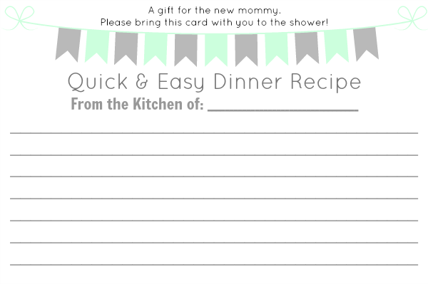 baby shower printable recipe card