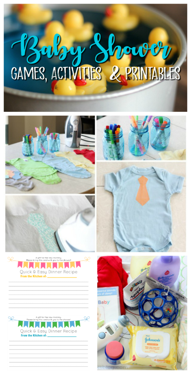 collage of baby shower activities