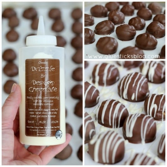 white drizzle for caramel candies