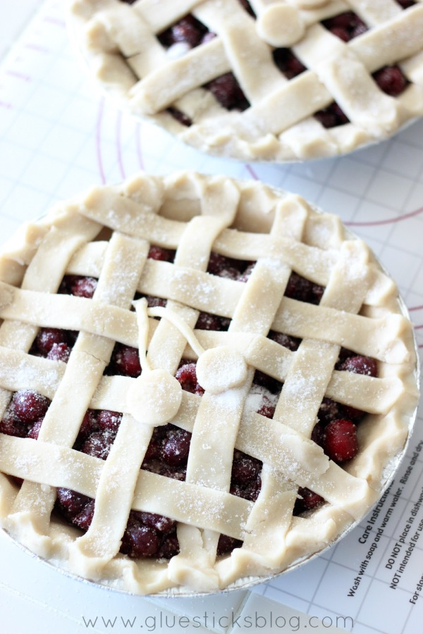 unbaked cherry pie with lattice top