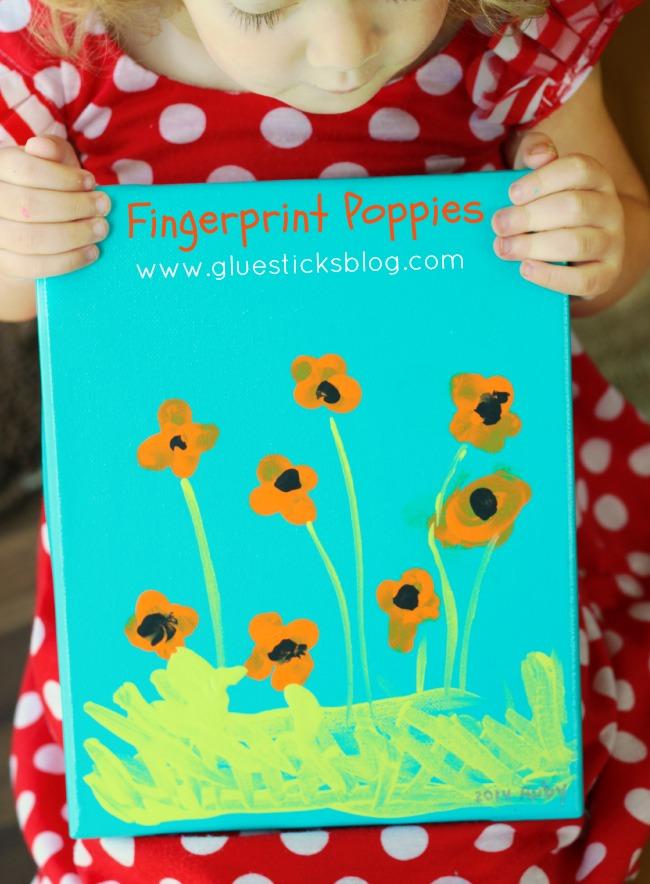 fingerprint poppies canvas