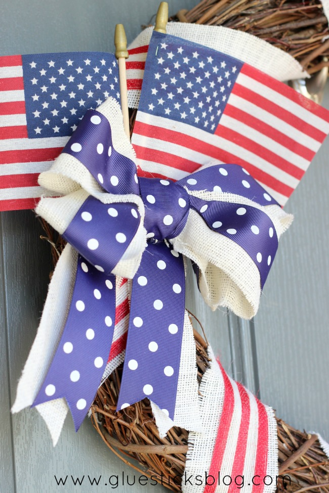 close up of bow on patriotic wreath