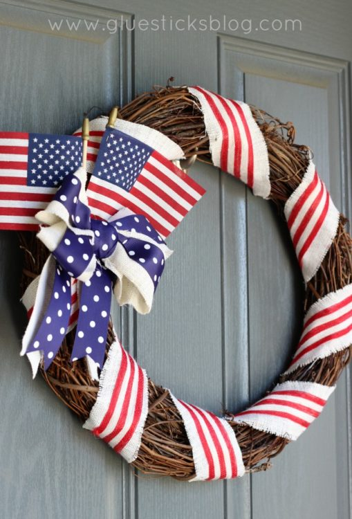 patriotic wreath on front door