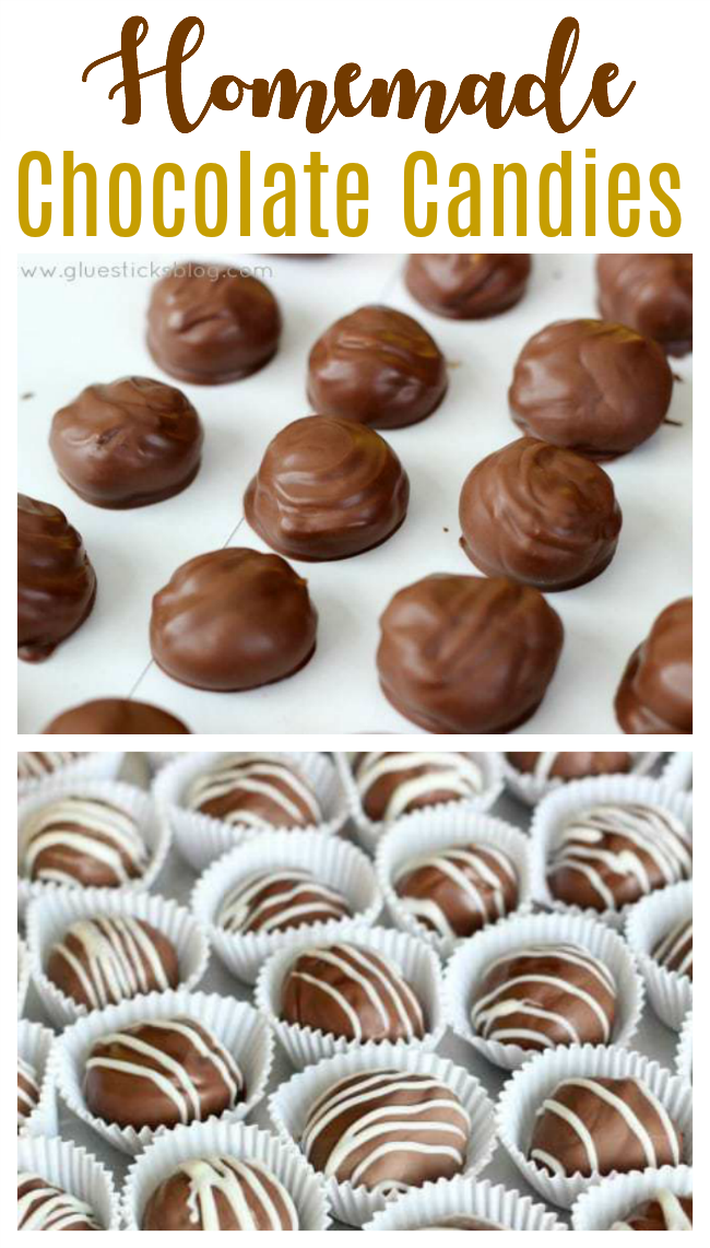 chocolate caramels on parchment paper
