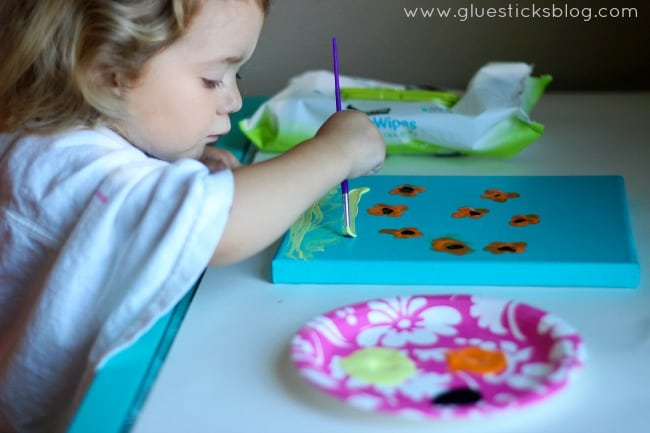 toddler painting canvas