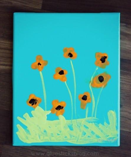 fingerprint poppies on canvas